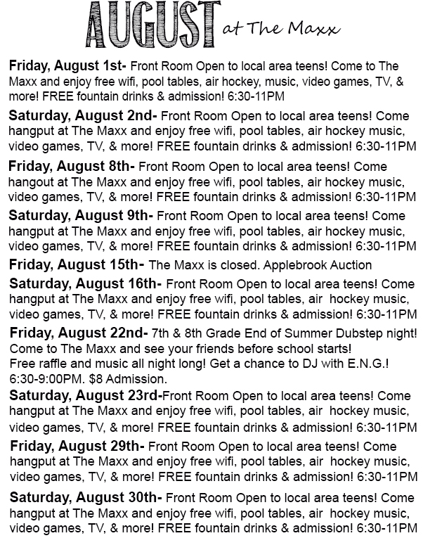 August at the maxx text copy